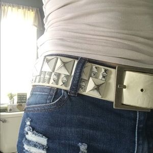 Accessories - White studded belt